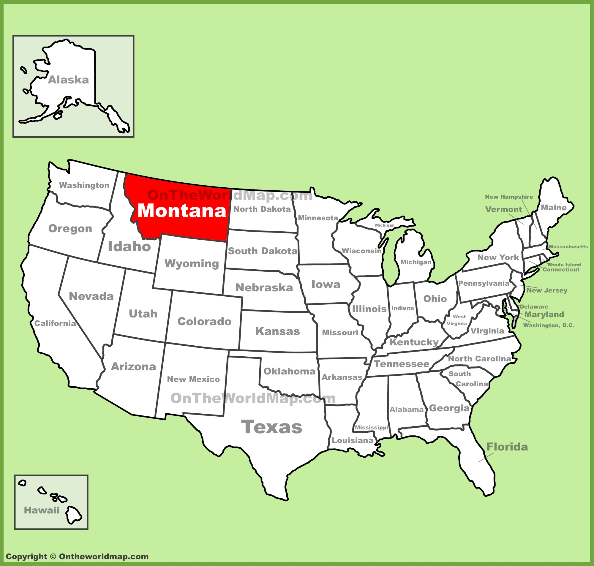 Montana location on the U.S. Map