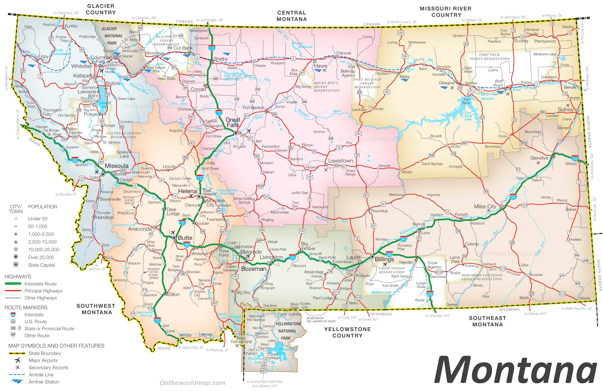 Montana Road Map - Map of montana cities