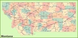 Road map of Montana with cities