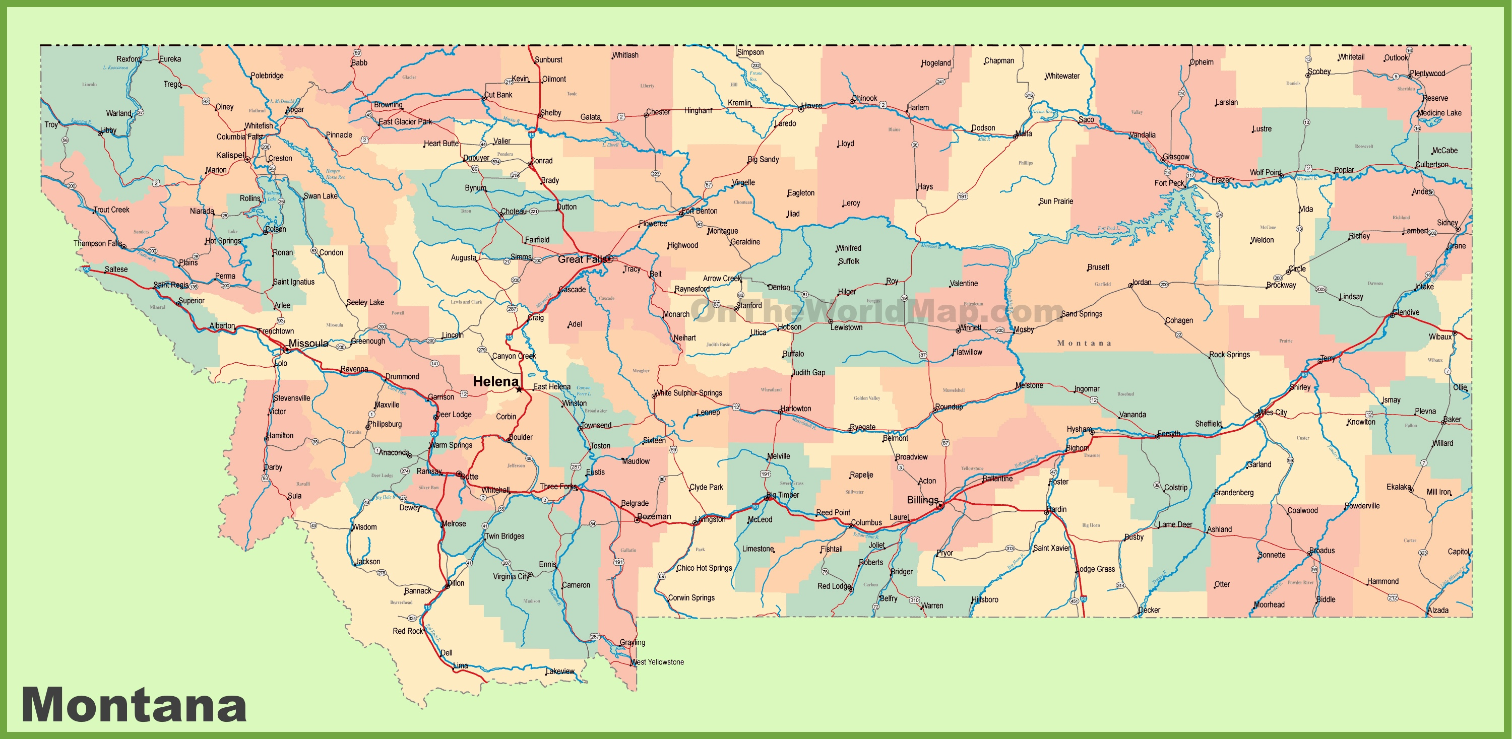 Map Of Montana With Cities Road map of Montana with cities
