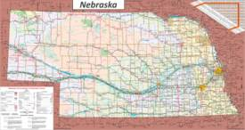 Large detailed tourist map of Nebraska with cities and towns
