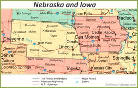 Map of Nebraska And Iowa