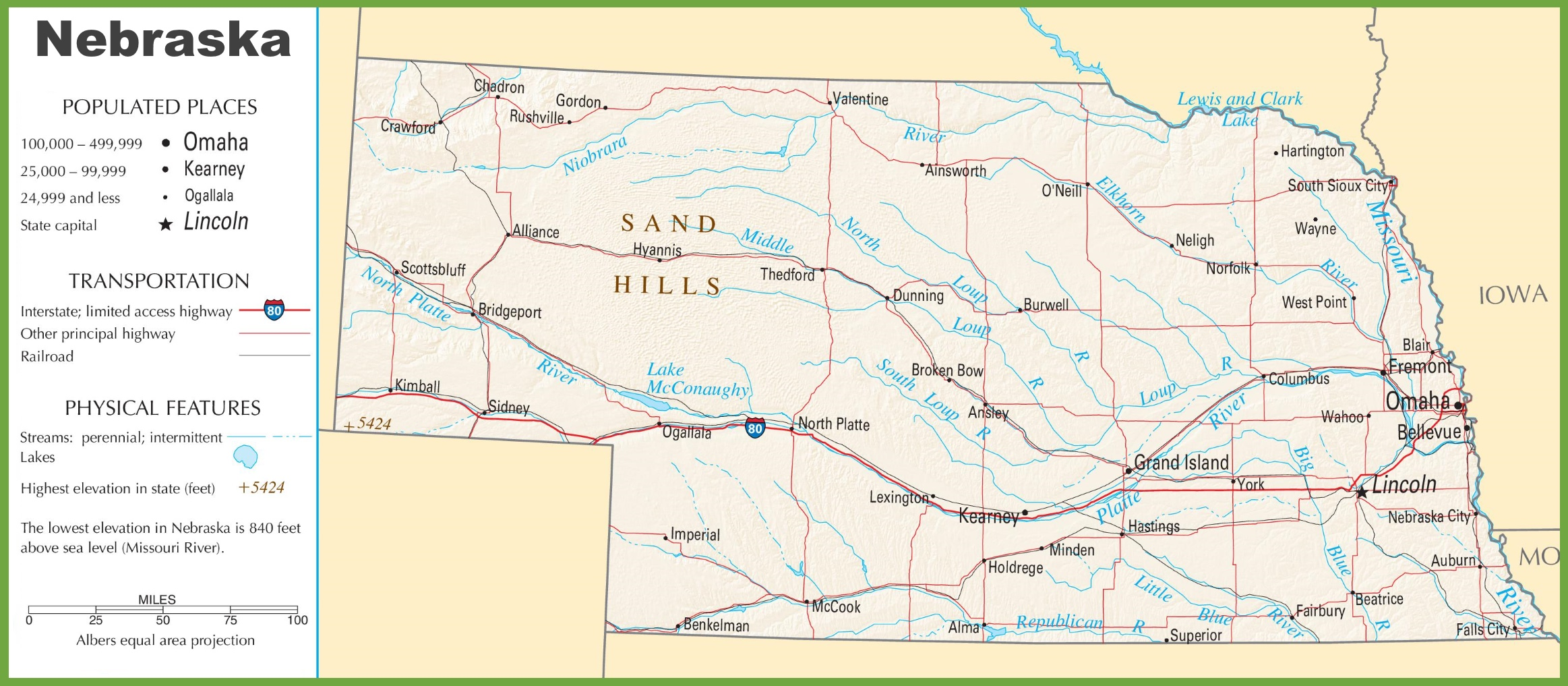 Nebraska Highway Map - Nebraska rivers map