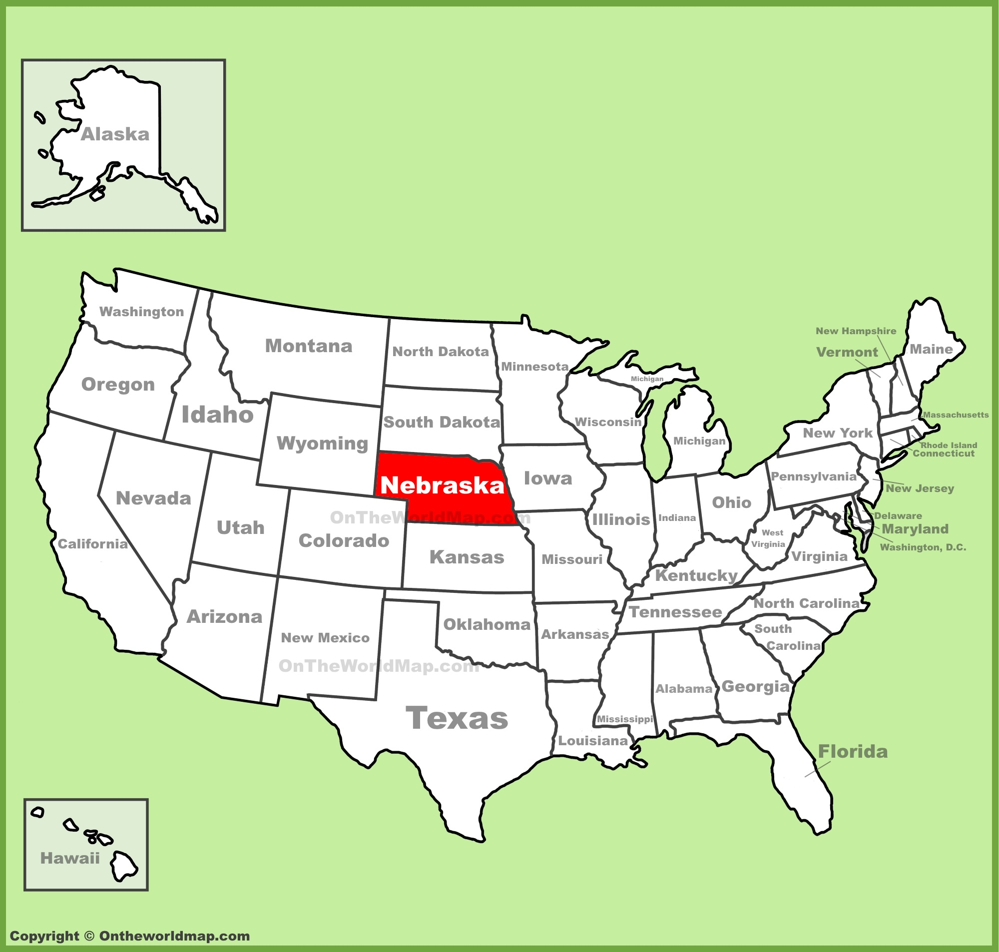 Nebraska On A Map Nebraska location on the U.S. Map