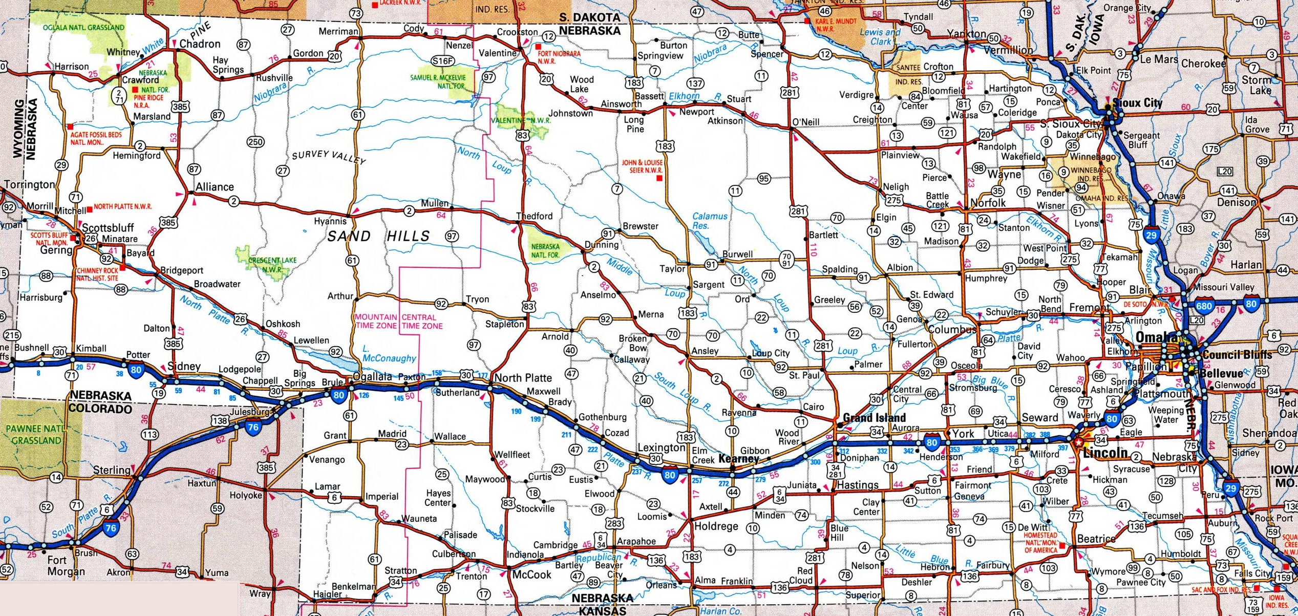 Nebraska Road Map - Road maps of usa