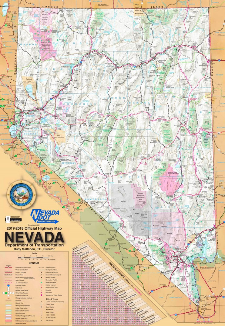 Large detailed tourist map of Nevada