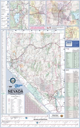Large detailed tourist map of Nevada with cities and towns
