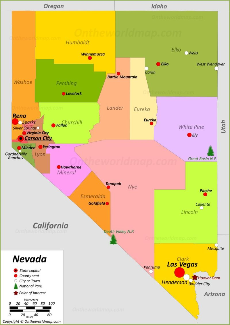 Map Of Arizona Nevada.Nevada State Maps Usa Maps Of Nevada Nv