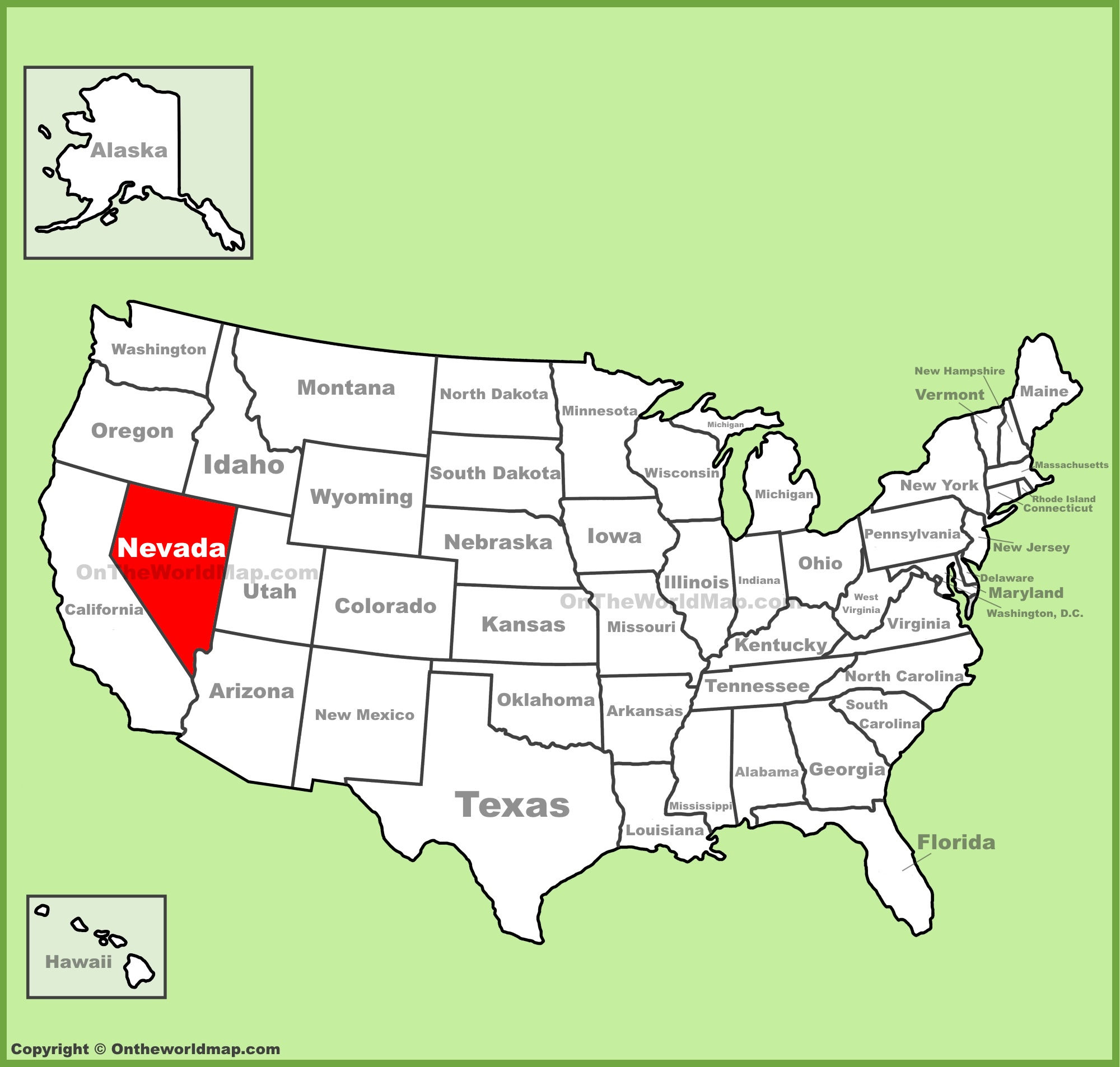 Nevada location on the U.S. Map