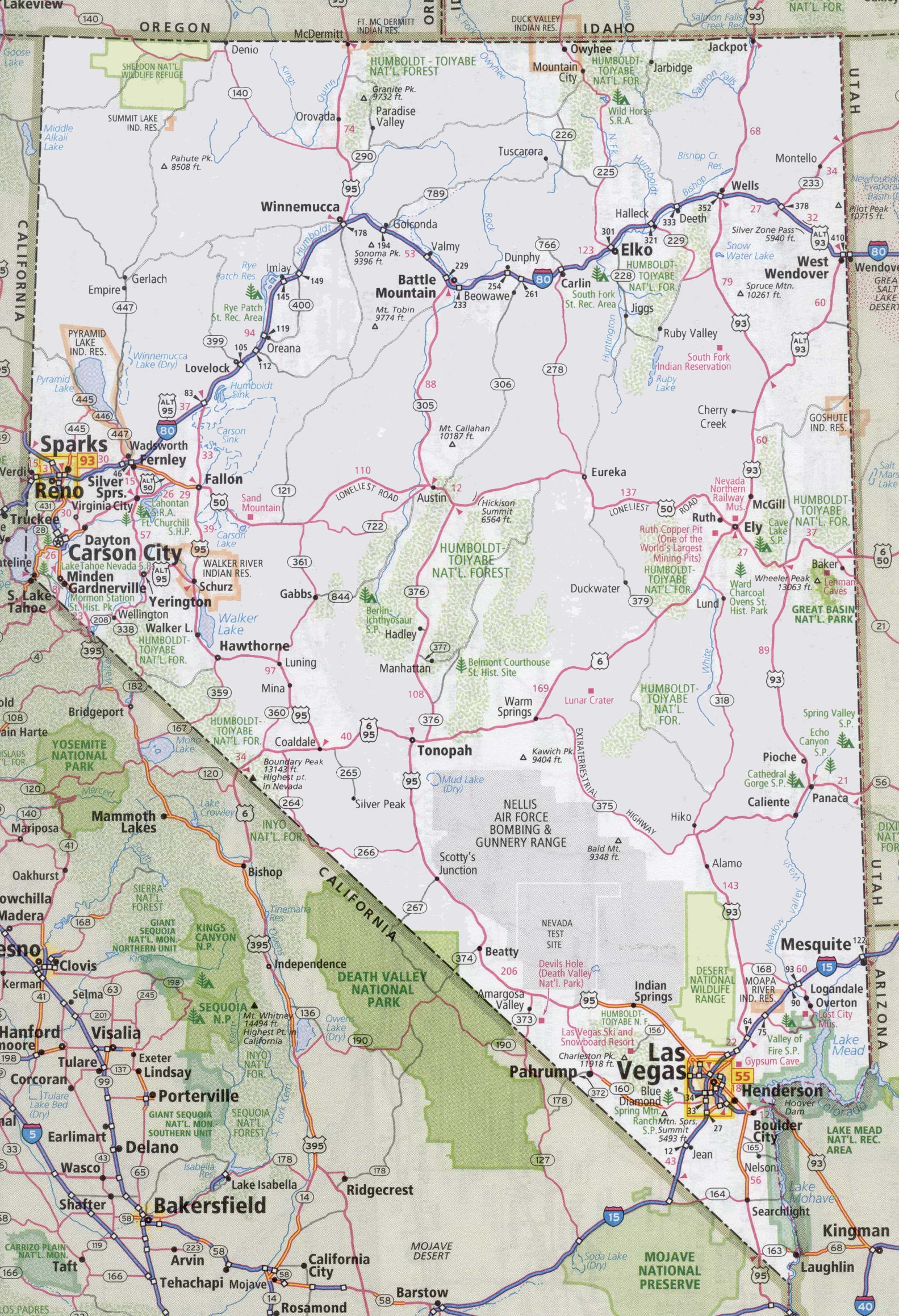 Nevada Road Map - Map of nevada