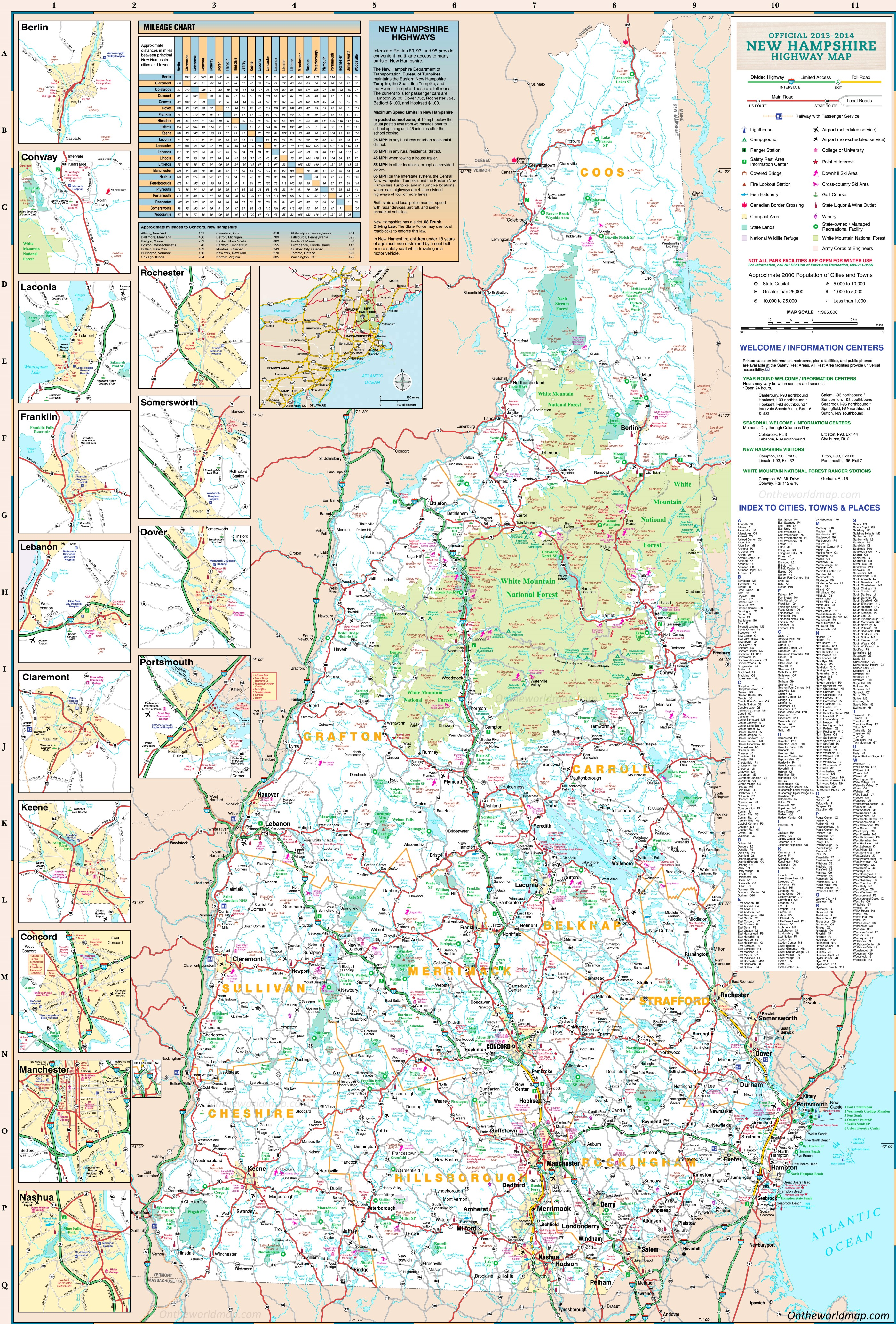 Map Of New Hampshire Towns Large detailed tourist map of New Hampshire with cities and towns
