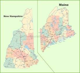 Map of New Hampshire and Maine