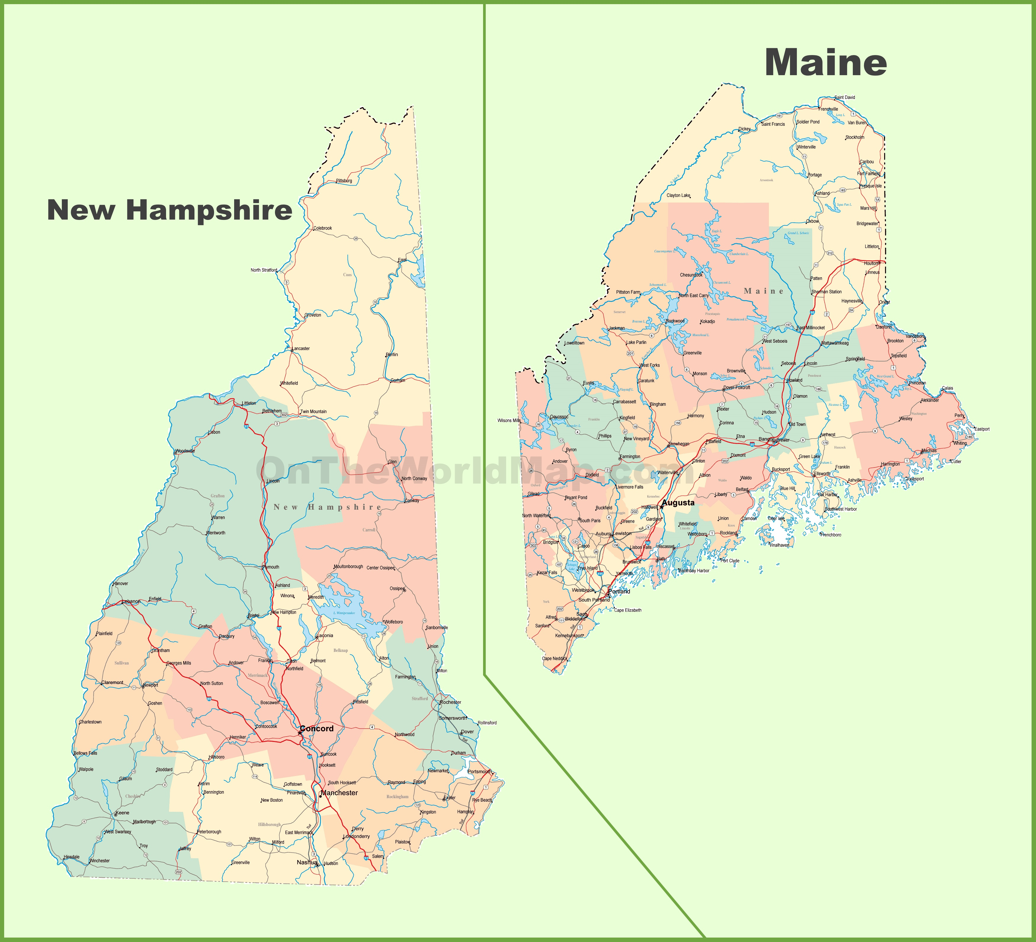 Map Of New Hampshire And Maine - Maine in usa map