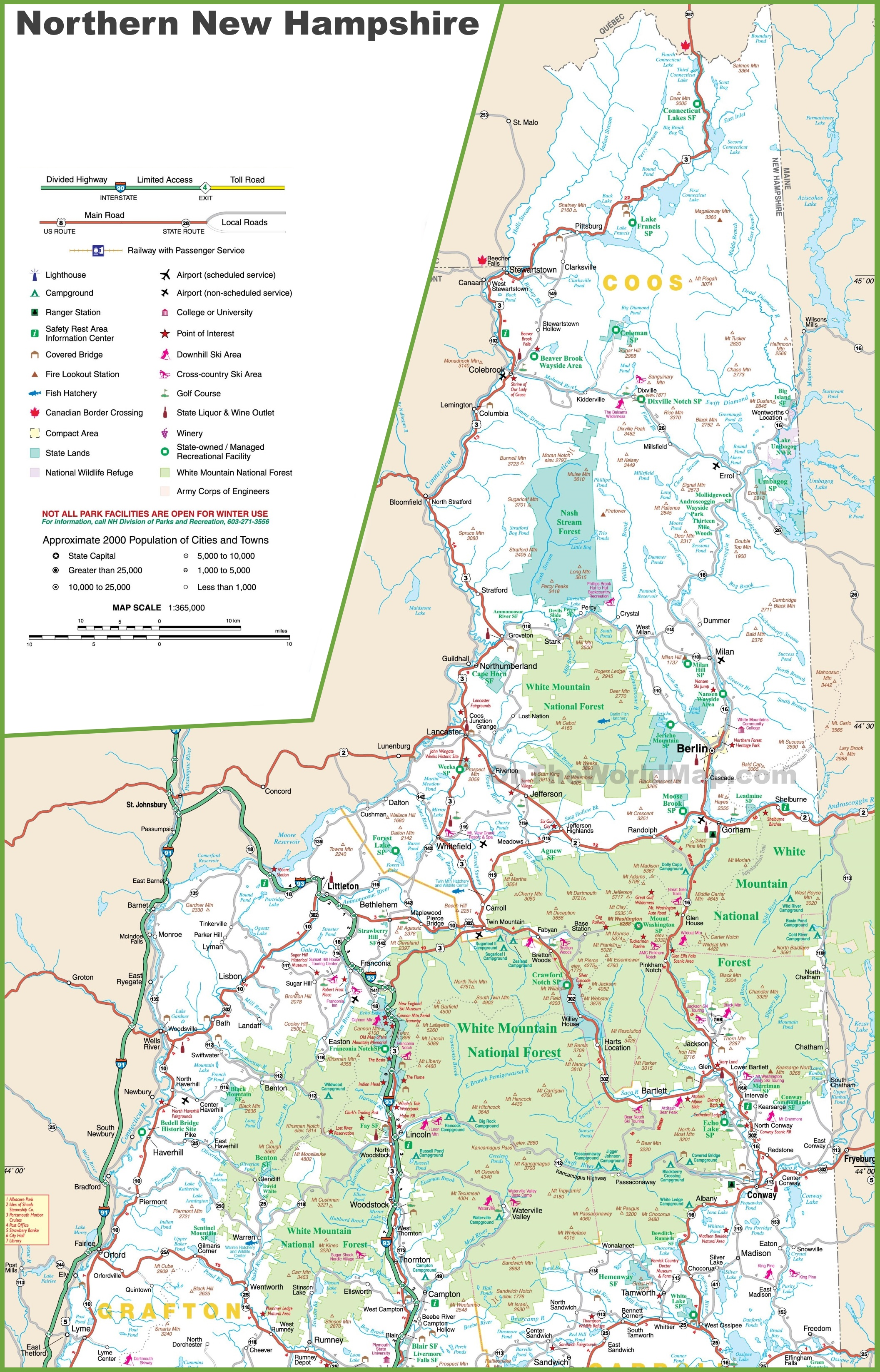 Map Of Northern New Hampshire - Map of new hampshire towns