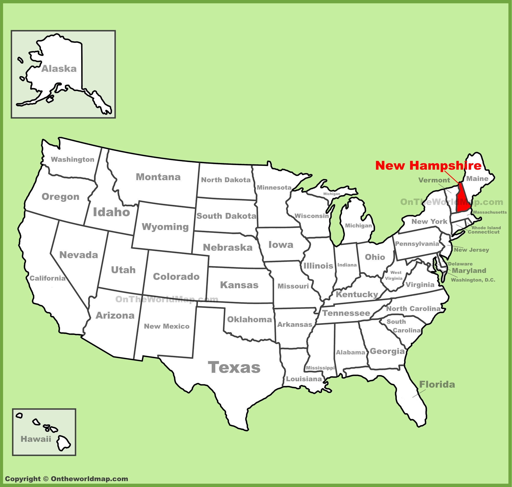 New Hampshire On Map Of Usa.New Hampshire Location On The U S Map
