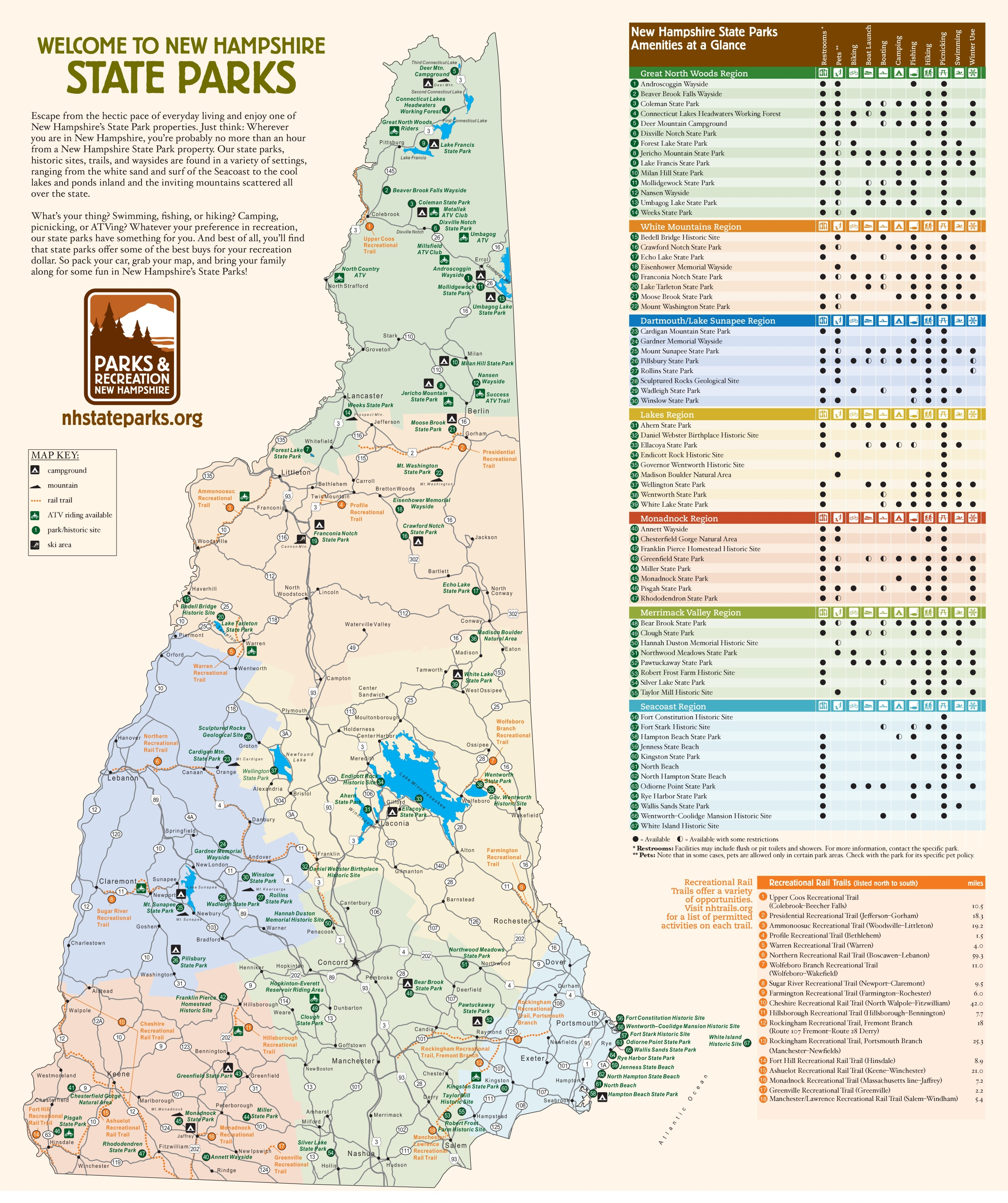 Map New Hampshire State Parks Afputracom - New hampshire on the map of usa