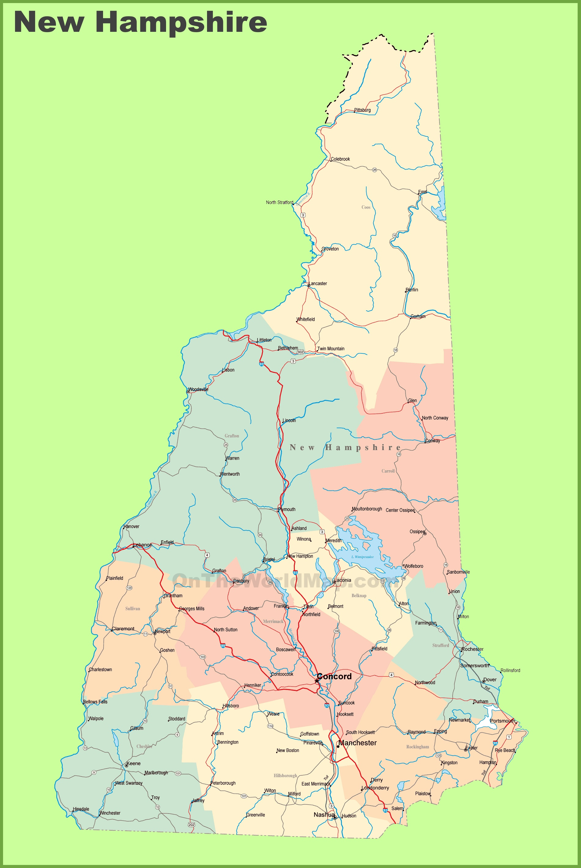 Road map of New Hampshire with cities