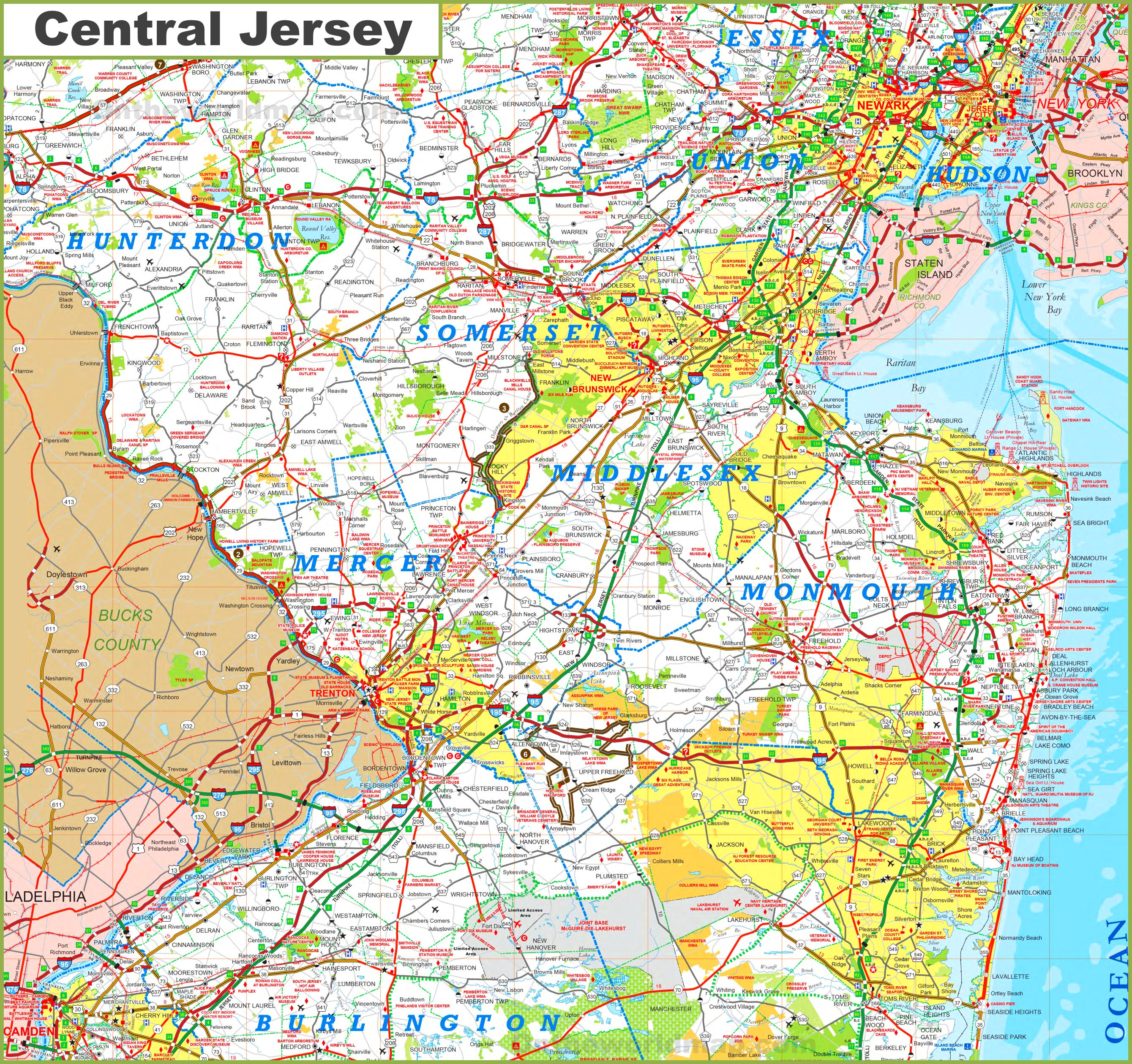 Central New Jersey Map