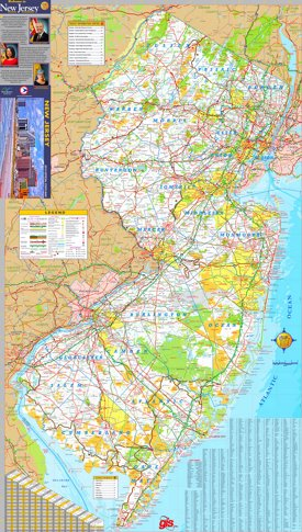 Large detailed tourist map of New Jersey 2019