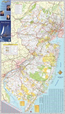 Large detailed tourist map of New Jersey with cities and towns