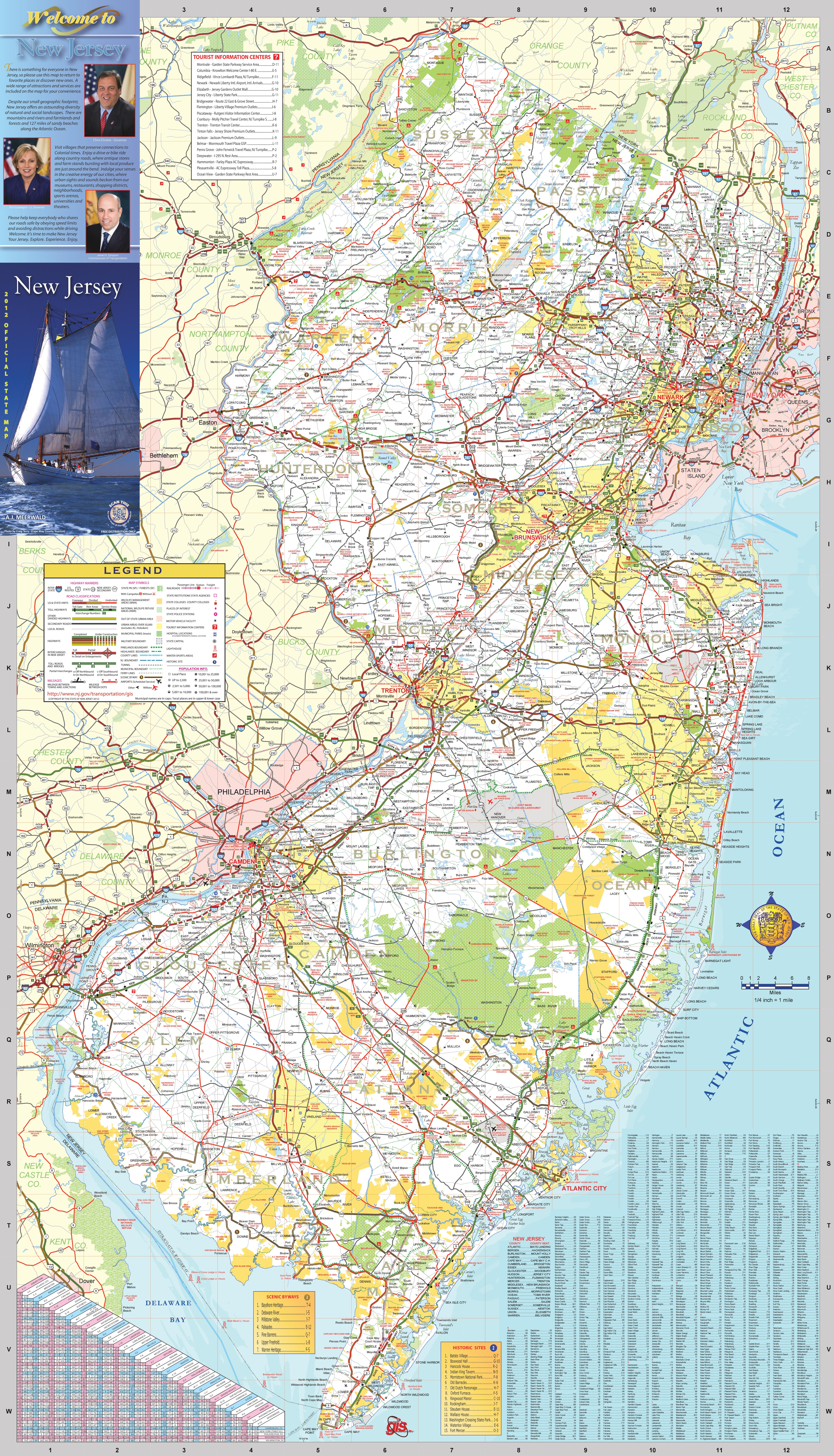 Nj Map Of Towns Large detailed tourist map of New Jersey with cities and towns