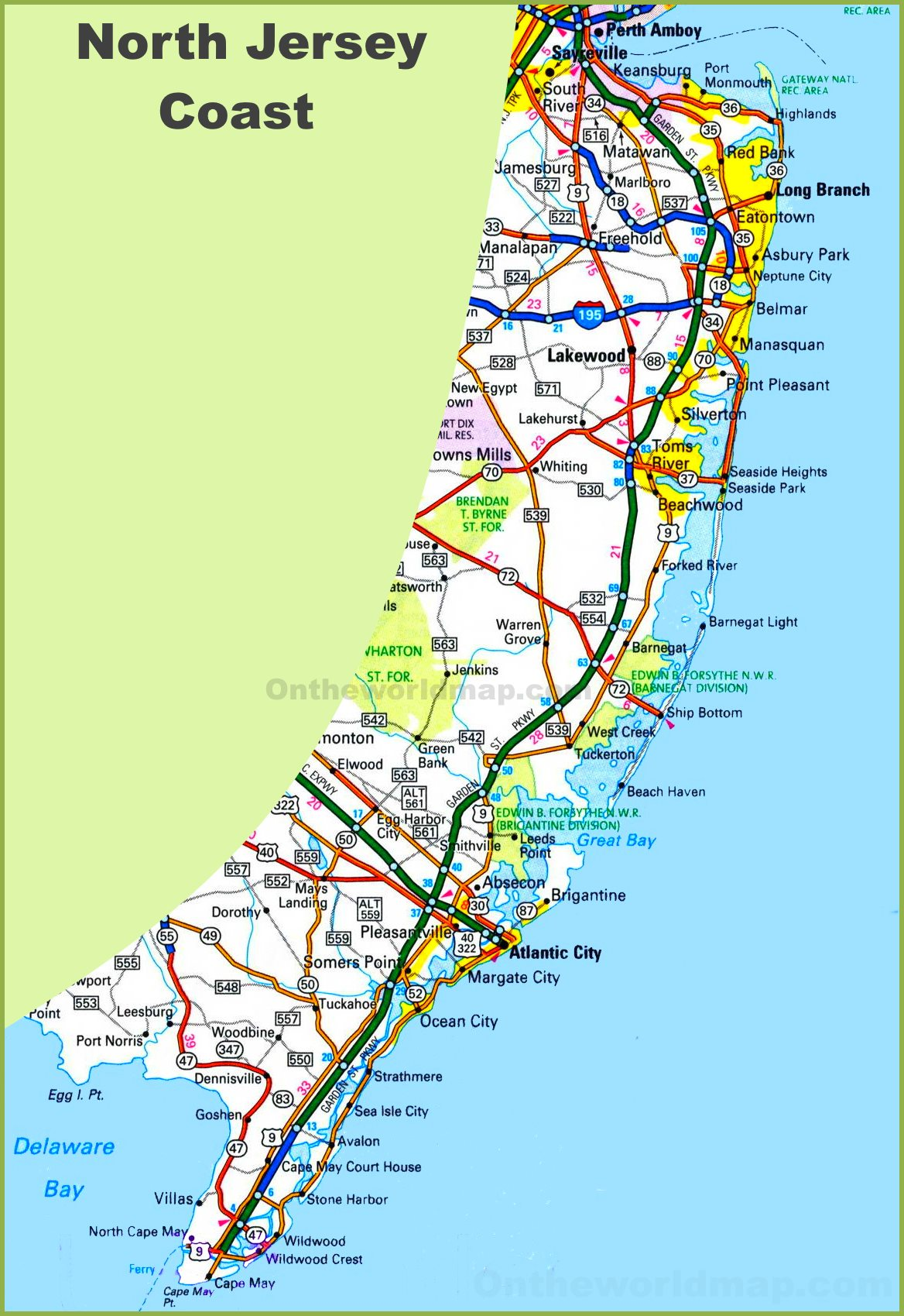 New Jersey Beaches Map New Jersey coast map