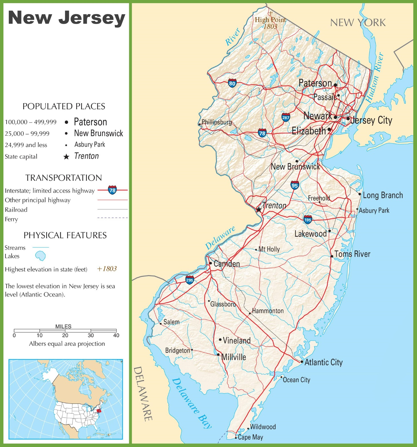 New Jersey Highway Map - New jersey on us map
