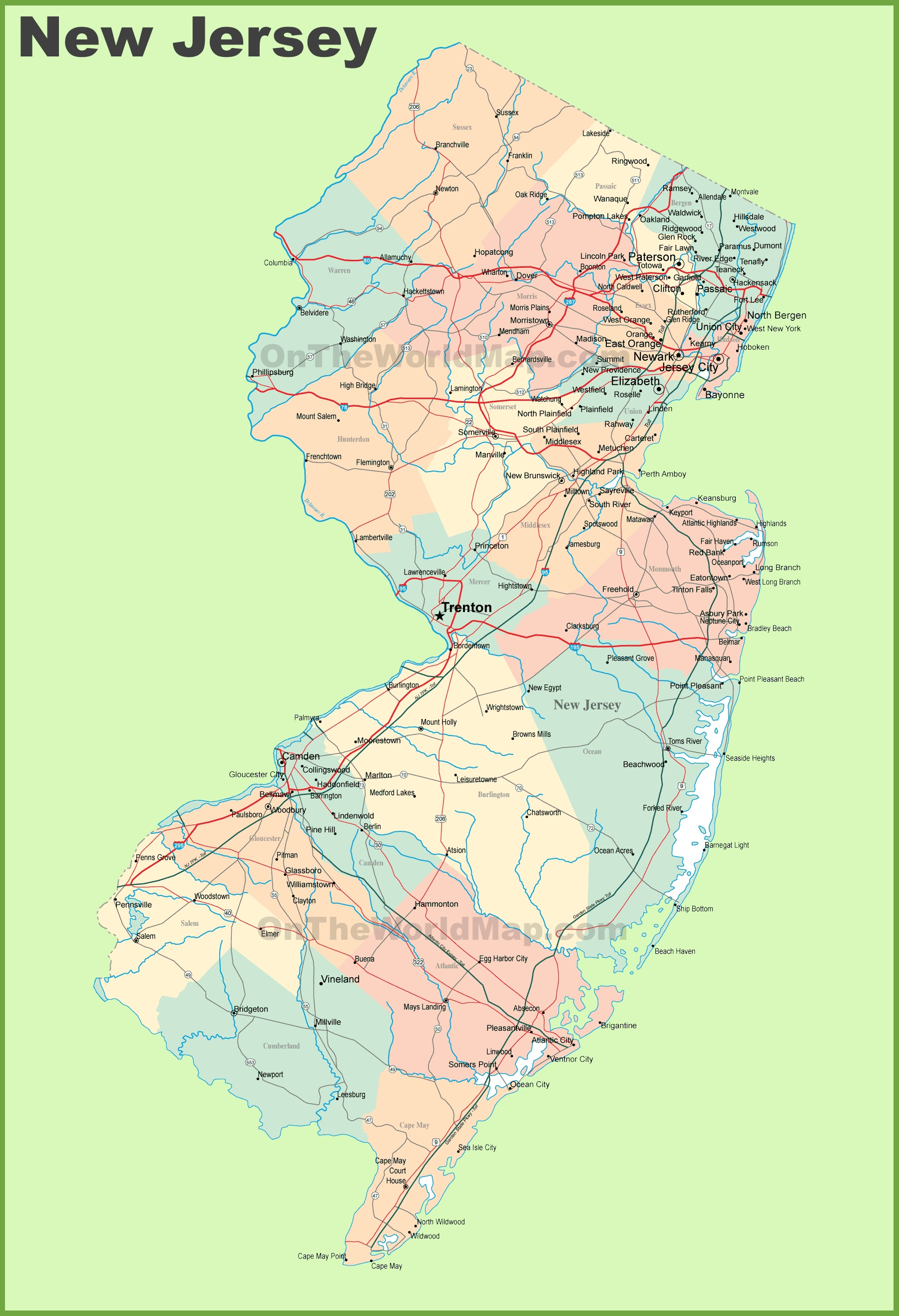 Road map of New Jersey with cities