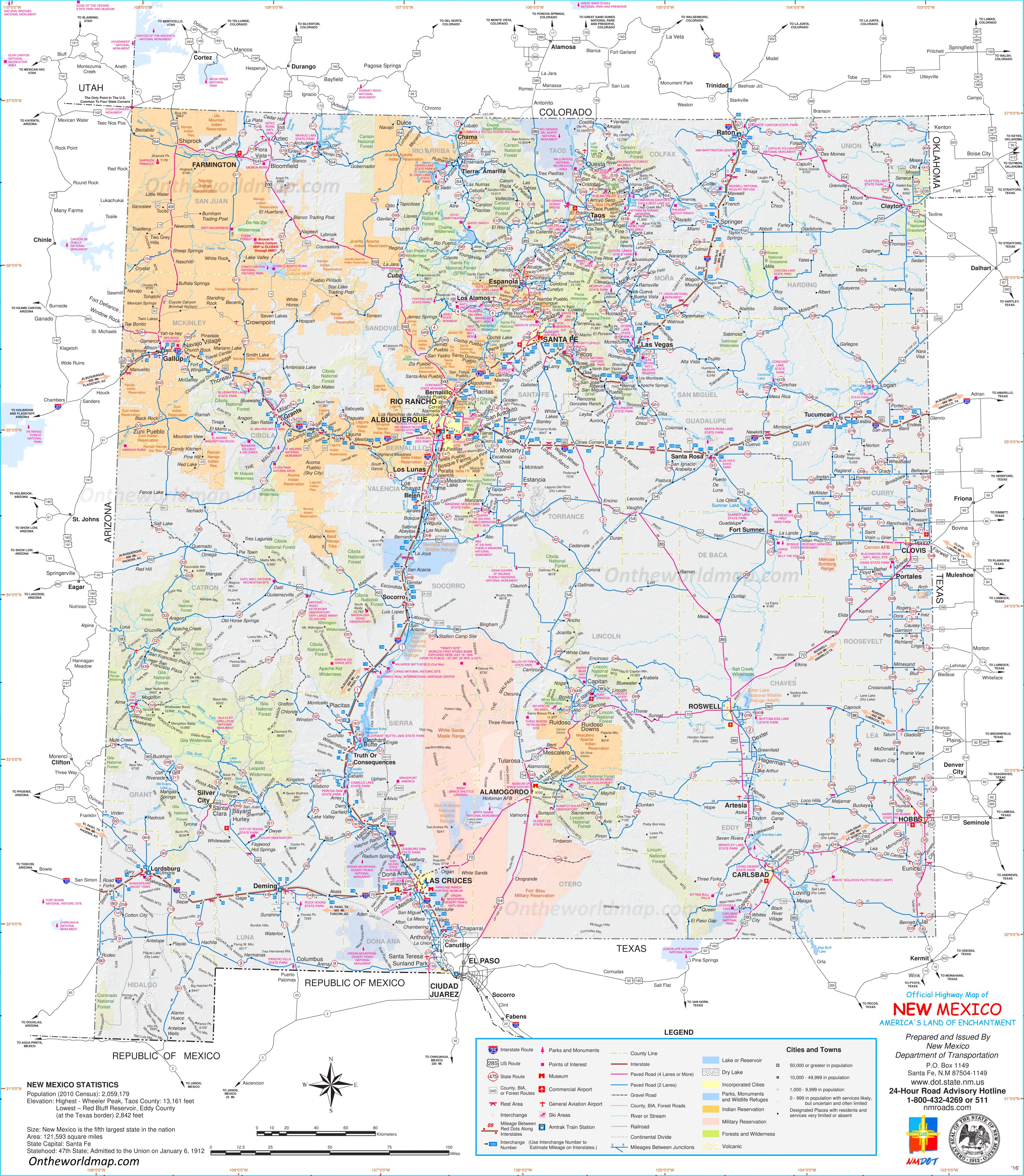 Large Detailed Tourist Map Of New Mexico With Cities And Towns - Us map new mexico