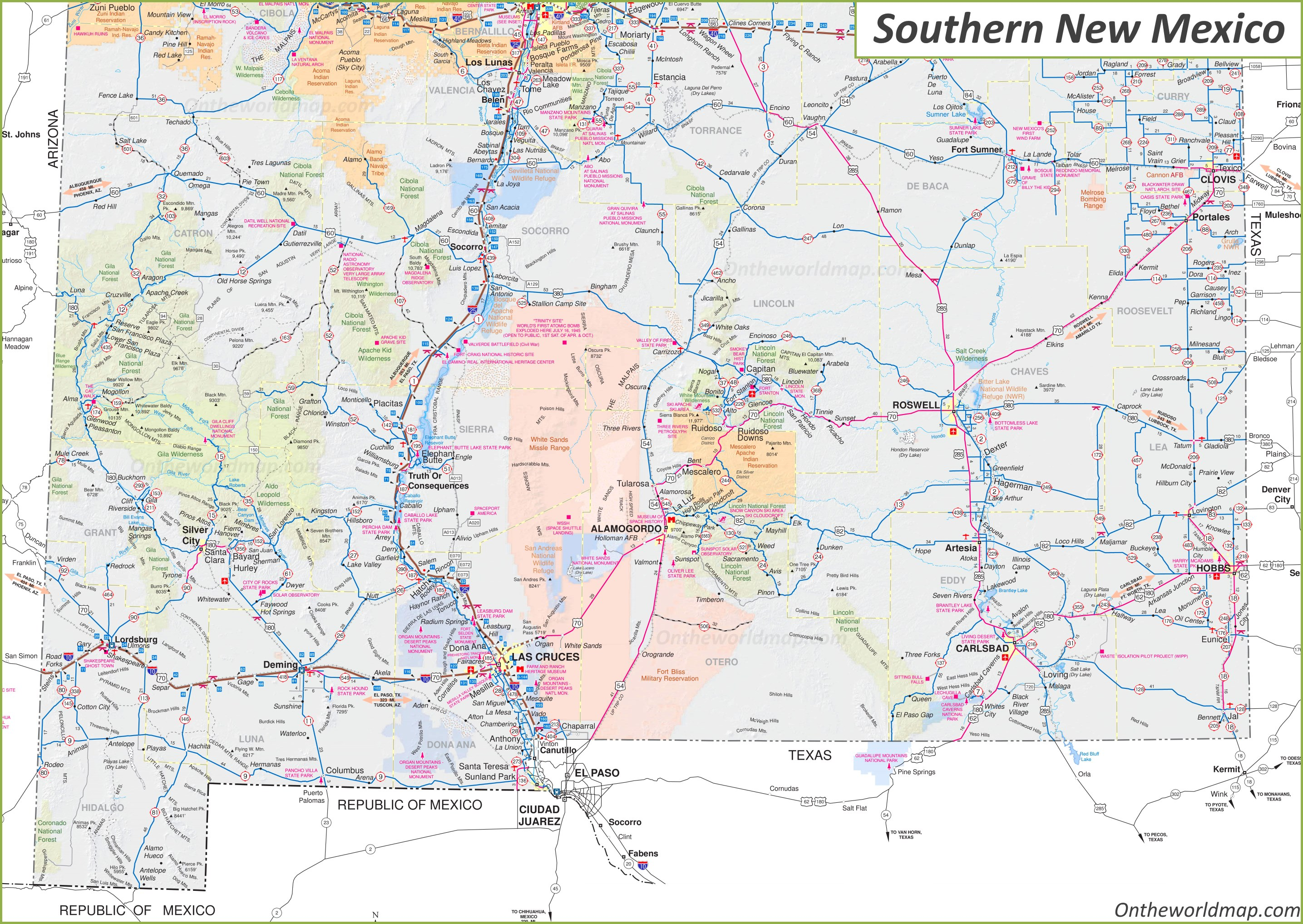 Map of Southern New Mexico