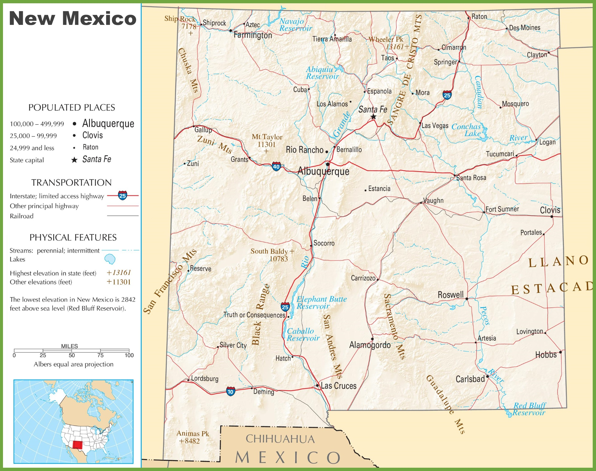 New Mexico Highway Map - Maps of new mexico