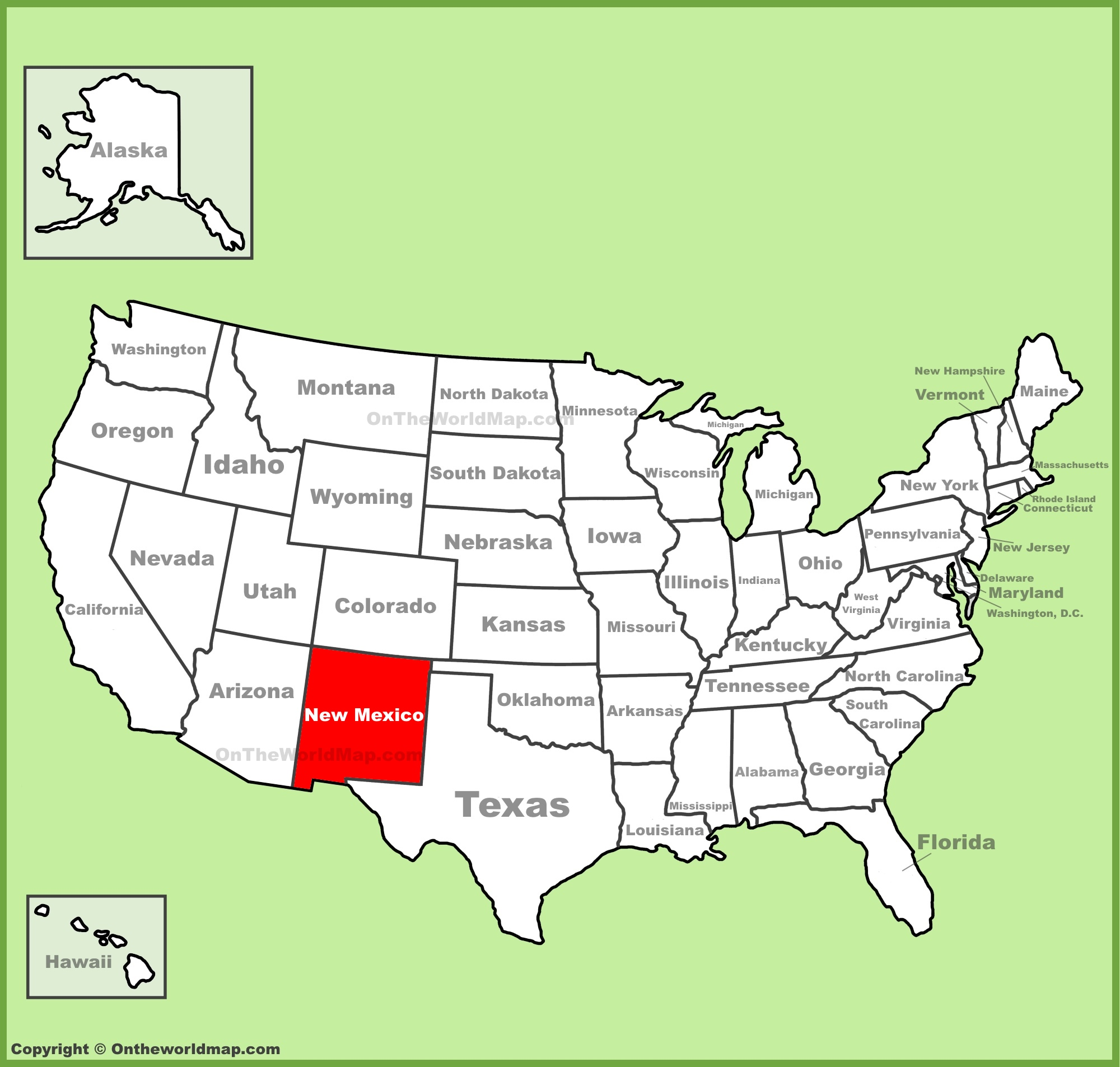 New Mexico location on the U.S. Map