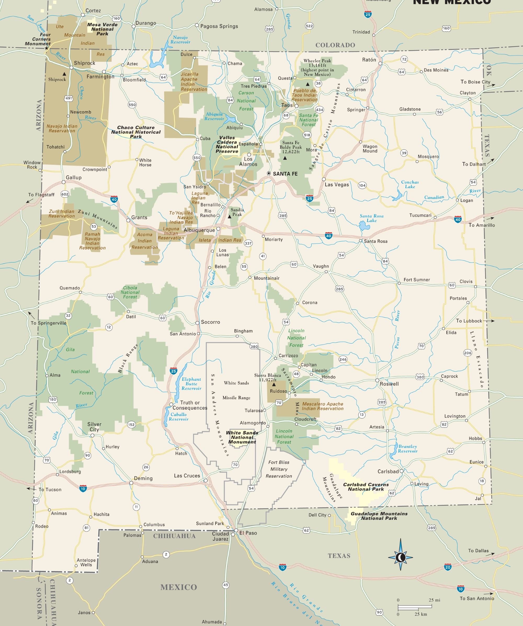 Map Of Usa Forests.New Mexico National Parks Monuments And Forests Map