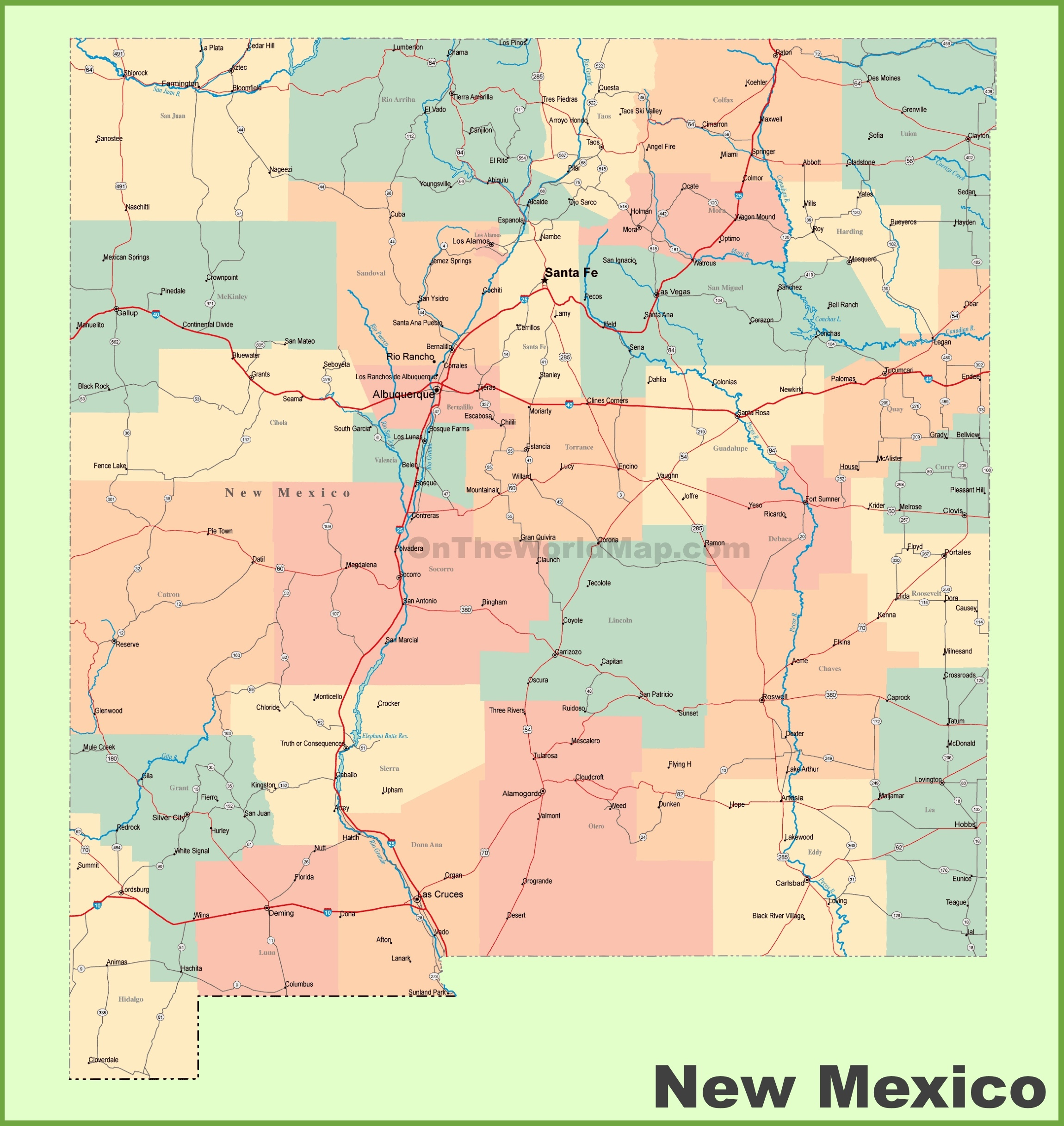 Road map of New Mexico with cities