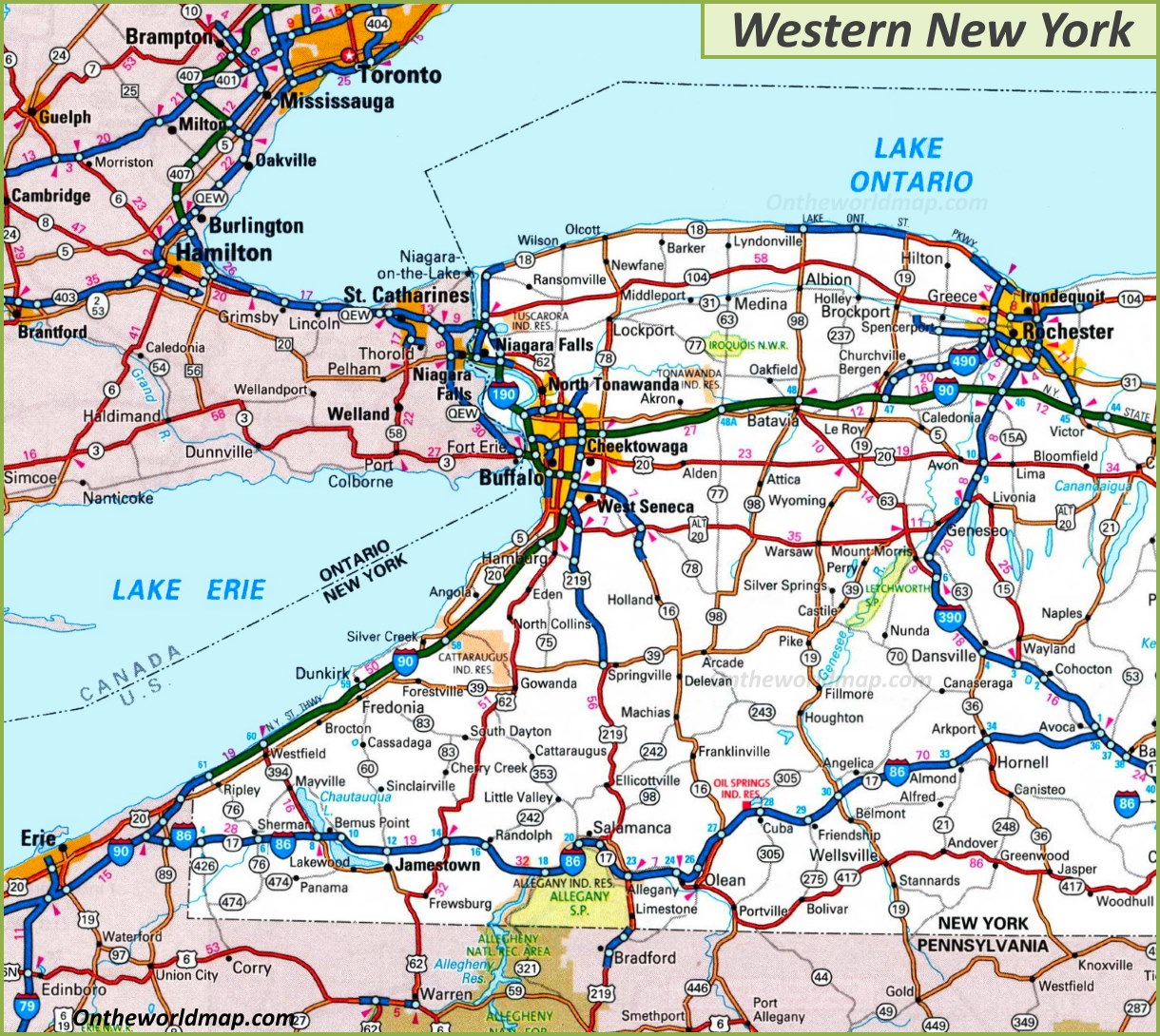 Western New York Map Map of Western New York State