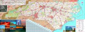Large detailed tourist map of North Carolina with cities and towns