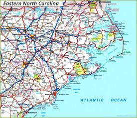 Map of Eastern North Carolina
