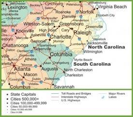 North Carolina State Maps USA Maps Of North Carolina NC - Map of north carolina with cities