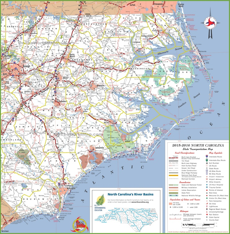 North Carolina coast map with beaches