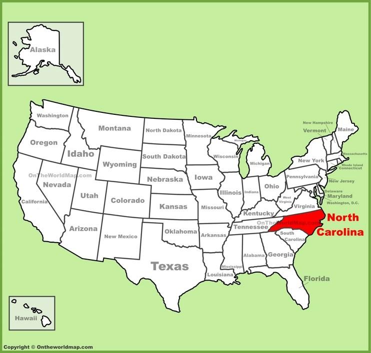 North Carolina location on the U.S. Map
