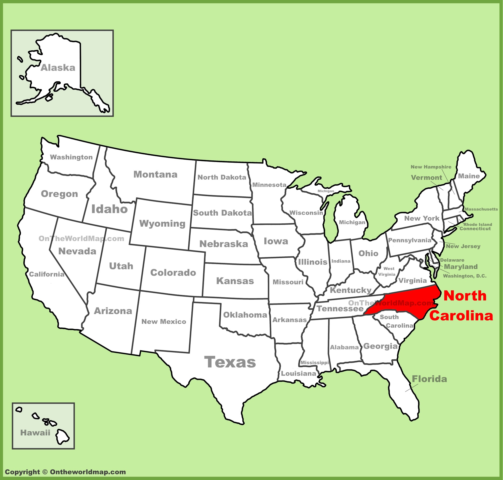 North Carolina Location On The US Map - North carolina on the us map