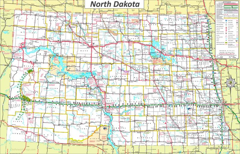 Large Detailed Tourist Map Of North Dakota With Cities And