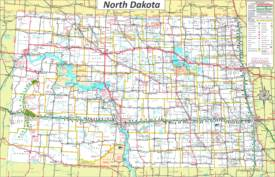 Large detailed tourist map of North Dakota with cities and towns