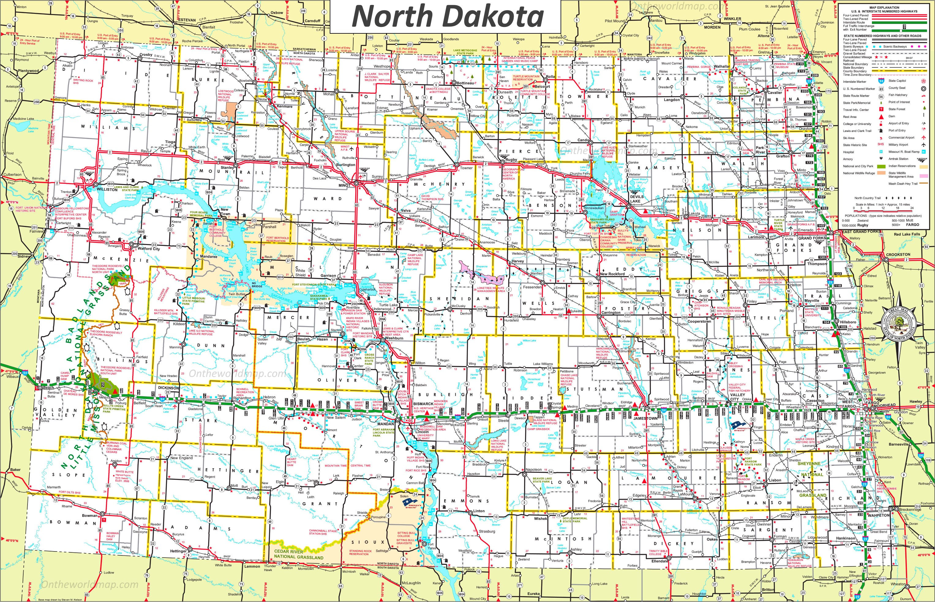 North Dakota Map With Cities Large detailed tourist map of North Dakota with cities and towns