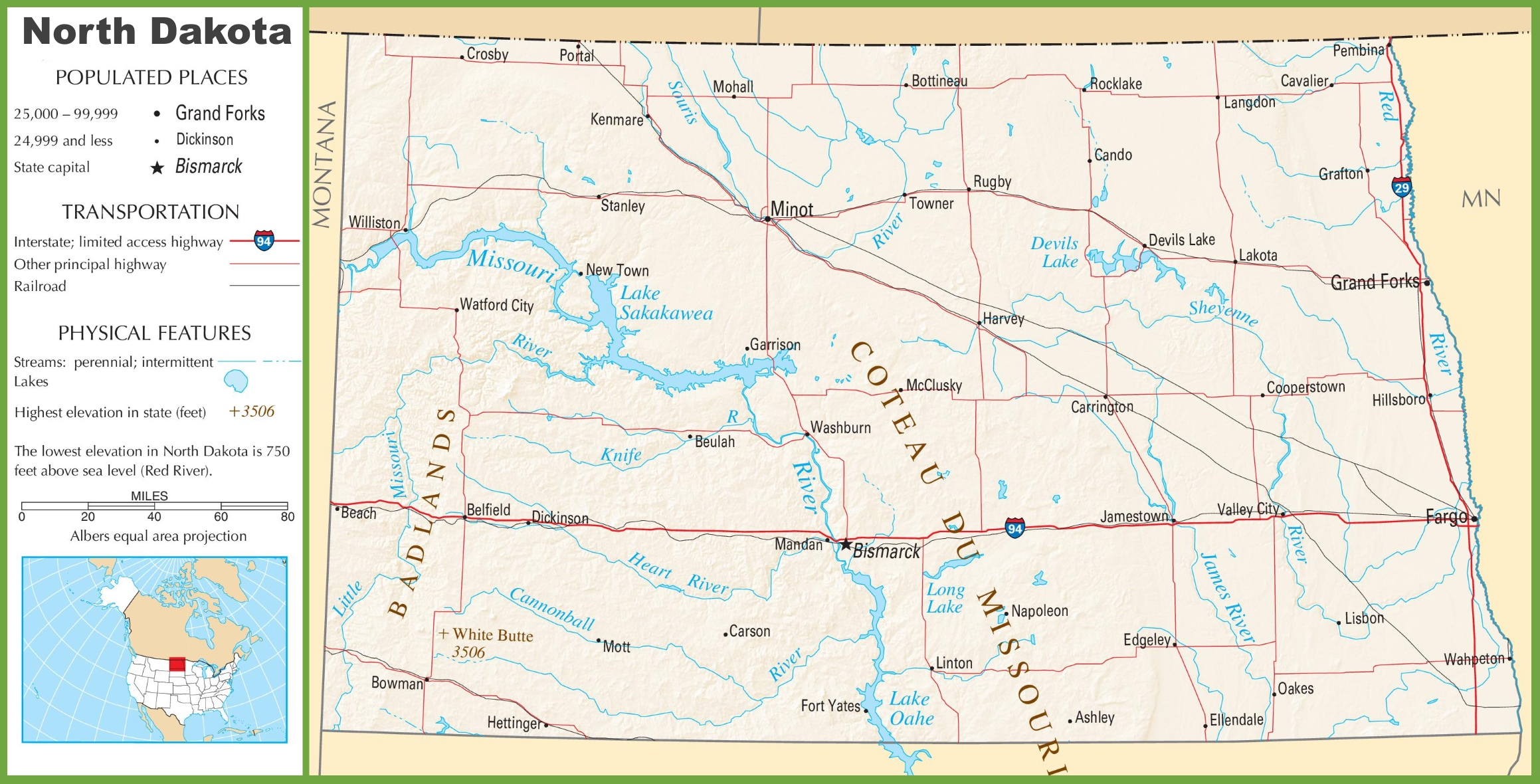 North Dakota highway map