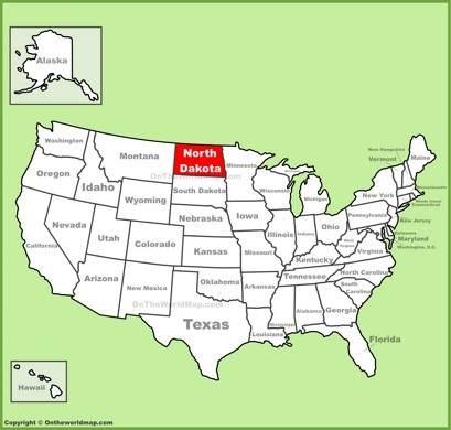 North Dakota Location Map