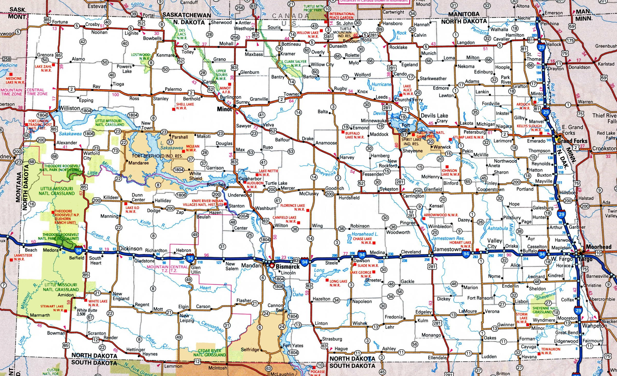 Map Of Nd North Dakota road map Map Of Nd