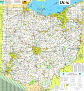 Large detailed tourist map of Ohio with cities and towns