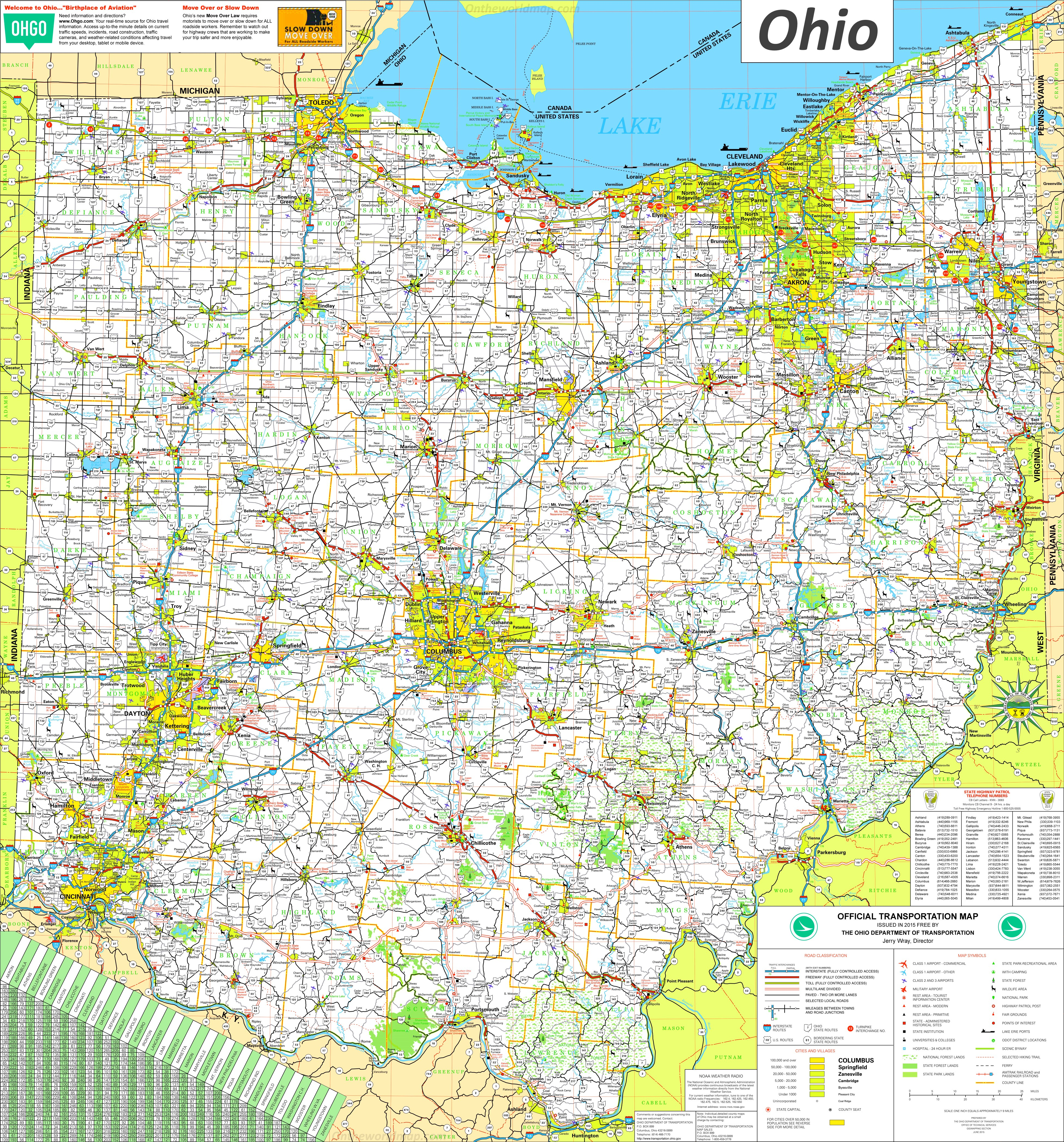 Ohio Map With Cities And Towns Large detailed tourist map of Ohio with cities and towns Ohio Map With Cities And Towns
