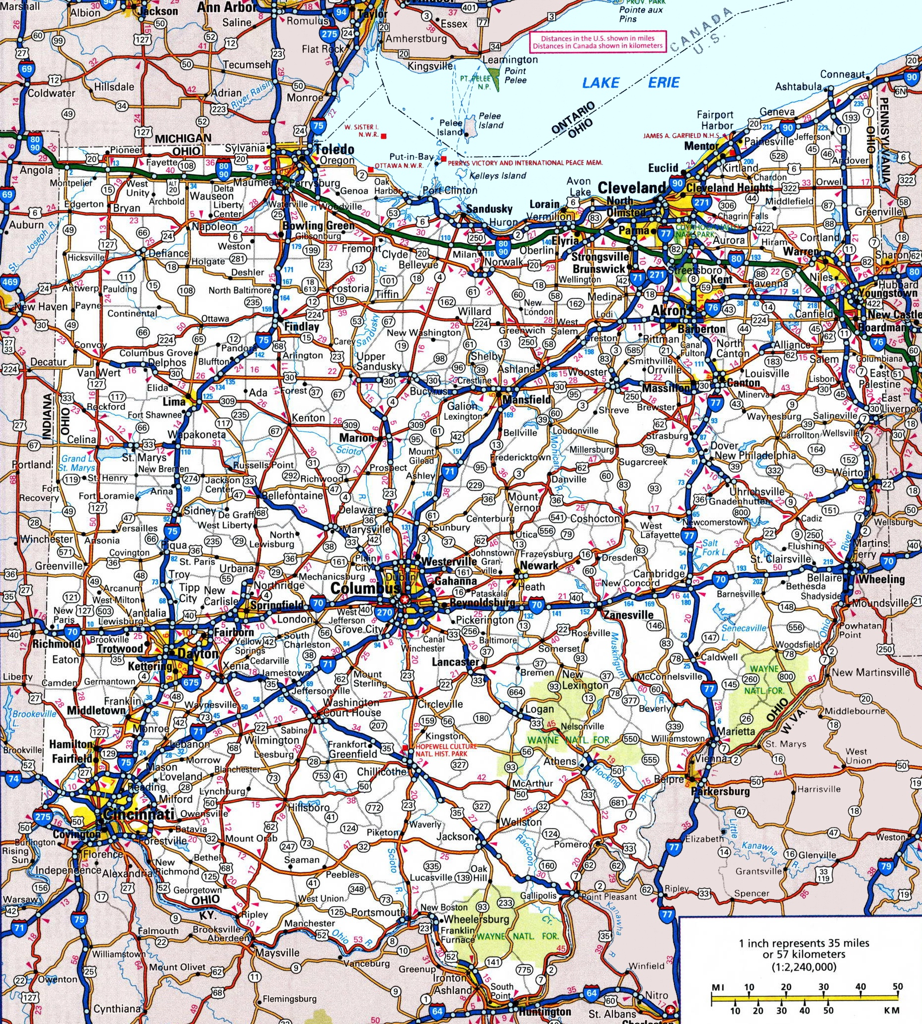 Ohio Road Map - Us state map large